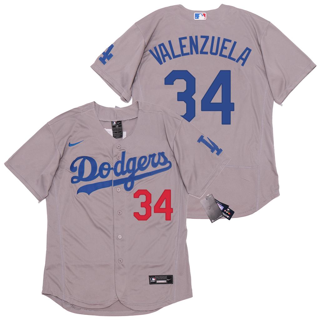 Dodgers 34 Fernando Valenzuela Gray 2020 Nike Flexbase Jersey