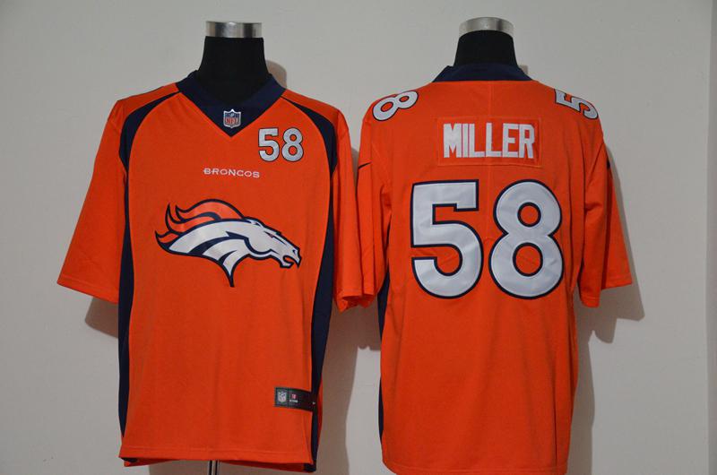 Nike Broncos 58 Von Miller Orange Team Big Logo Number Vapor Untouchable Limited Jersey