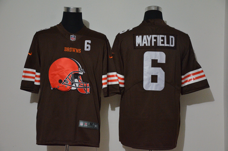 Nike Browns 6 Baker Mayfield Brown Team Big Logo Number Vapor Untouchable Limited Jersey