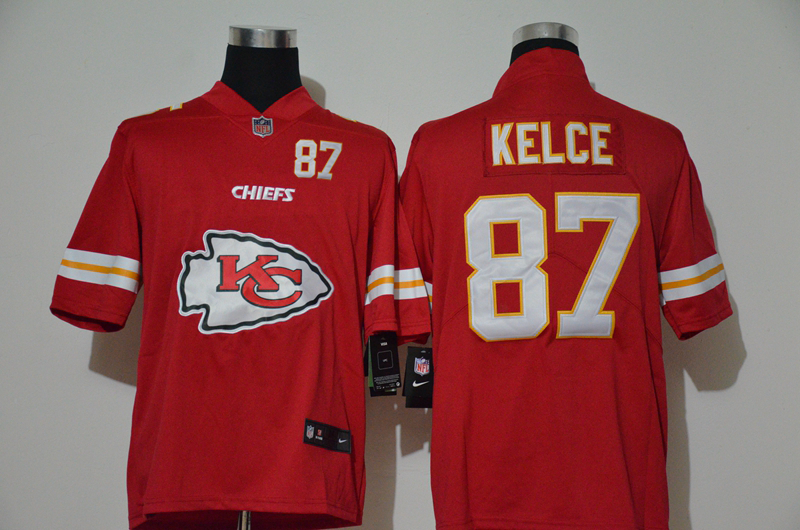 Nike Chiefs 87 Travis Kelce Red Team Big Logo Number Vapor Untouchable Limited Jersey