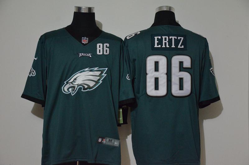 Nike Eagles 86 Zach Ertz Green Team Big Logo Number Vapor Untouchable Limited Jersey