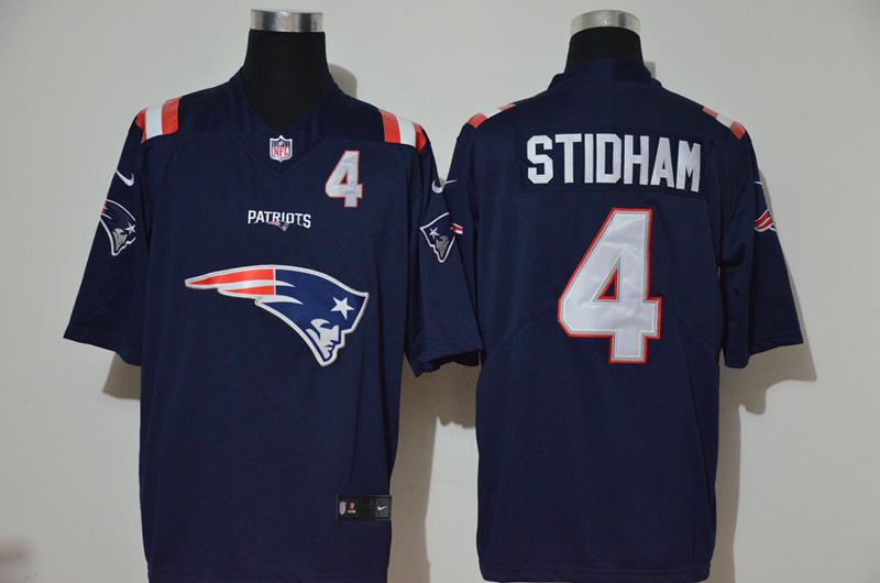Nike Patriots 4 Jarrett Stidham Navy Team Big Logo Number Vapor Untouchable Limited Jersey