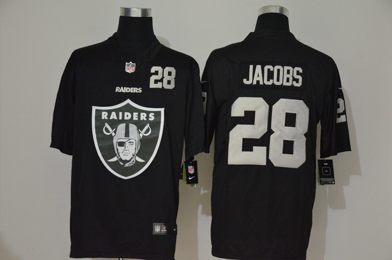 Nike Raiders 28 Josh Jacobs Black Team Big Logo Number Vapor Untouchable Limited Jersey
