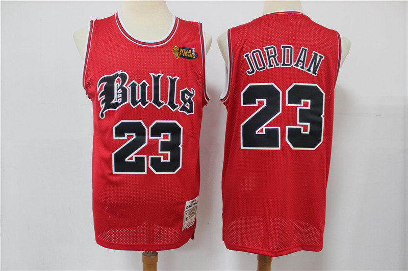 Bulls 23 Michael Jordan Red NBA Finals Patch Hardwood Classics Jersey