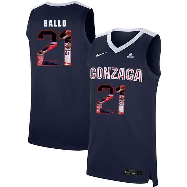 Gonzaga Bulldogs 21 Oumar Ballo Navy Fashion College Basketball Jersey