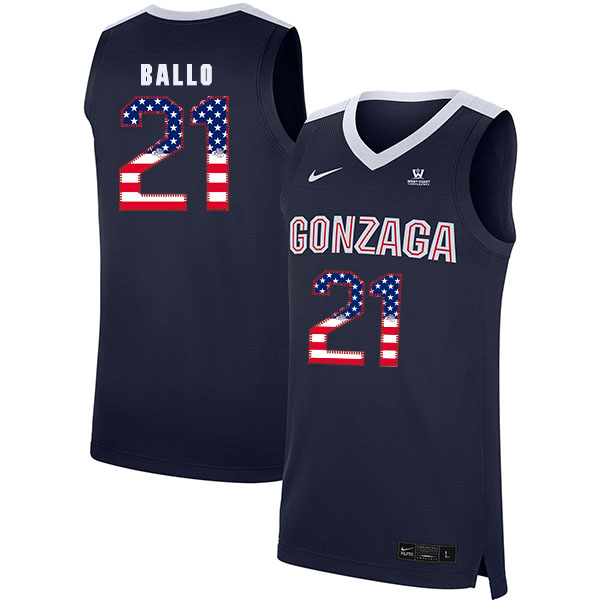 Gonzaga Bulldogs 21 Oumar Ballo Navy USA Flag College Basketball Jersey