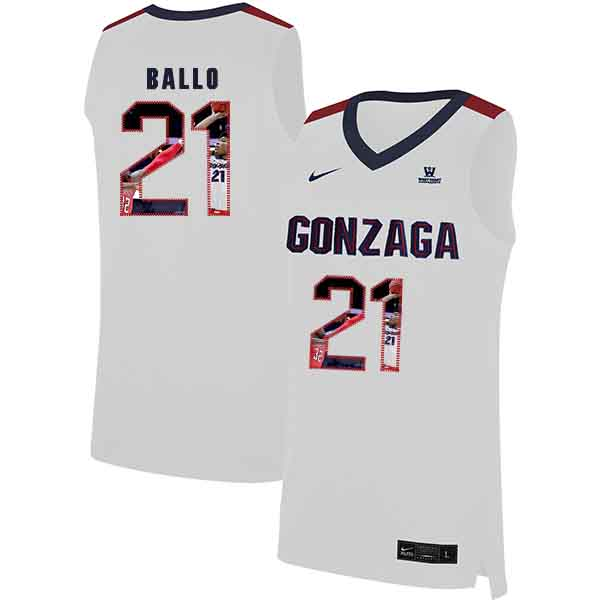 Gonzaga Bulldogs 21 Oumar Ballo White Fashion College Basketball Jersey