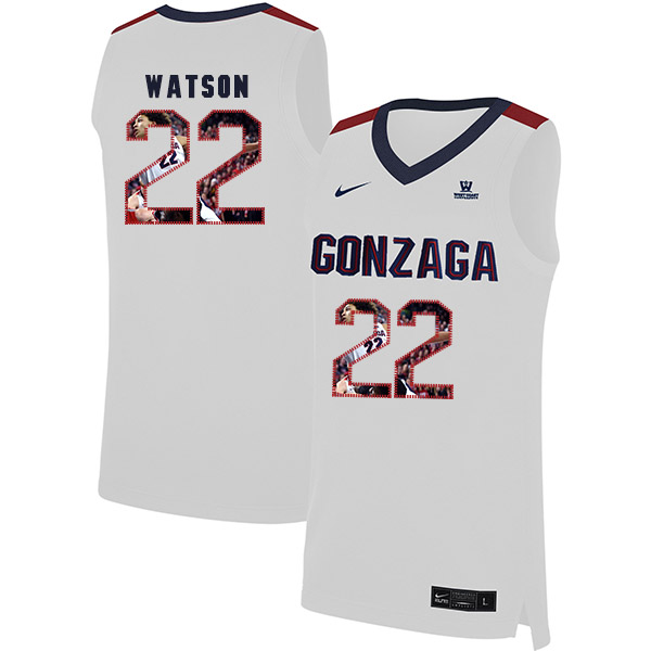 Gonzaga Bulldogs 22 Anton Watson White Fashion College Basketball Jersey