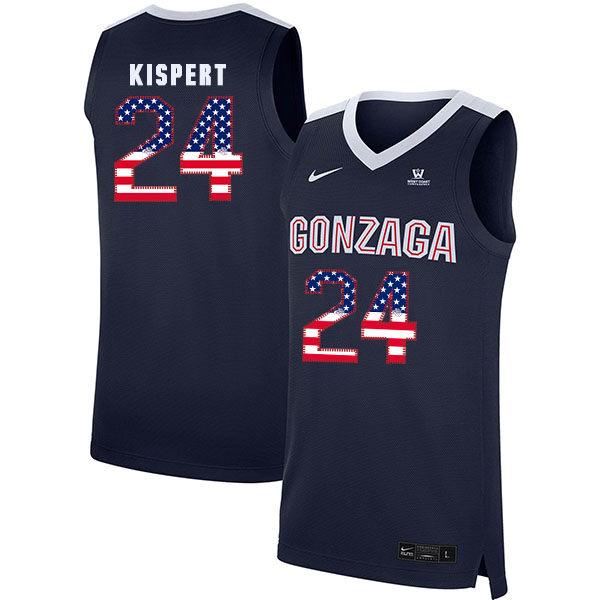 Gonzaga Bulldogs 24 Corey Kispert Navy USA Flag College Basketball Jersey