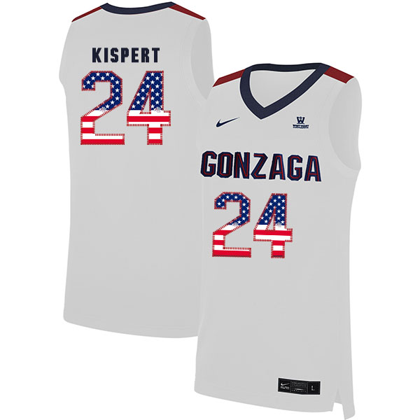 Gonzaga Bulldogs 24 Corey Kispert White USA Flag College Basketball Jersey