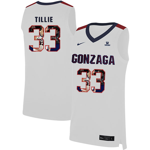 Gonzaga Bulldogs 33 Killian Tillie White Fashion College Basketball Jersey