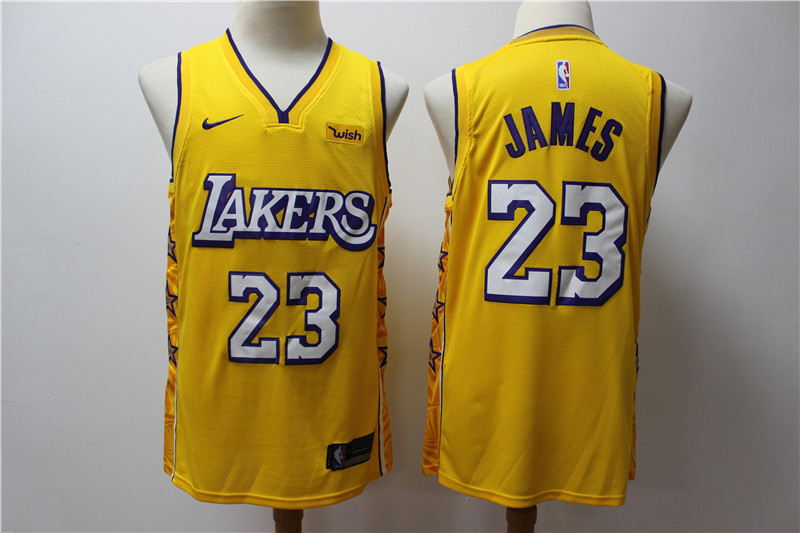 Lakers 23 Lebron James Yellow 2019 20 Nike City Edition Swingman Jersey