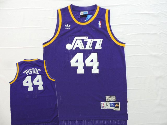 Jazz 44 Pistol Pete Maravich Purple Hardwood Classics Jersey