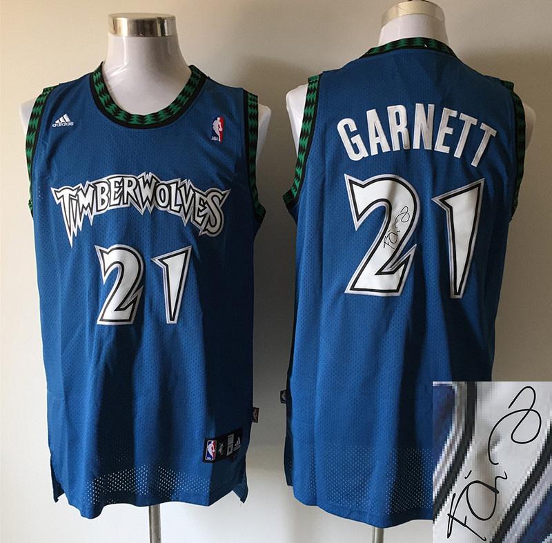 Timberwolves 21 Garnett Blue New Revolution 30 Signature Edition Jerseys
