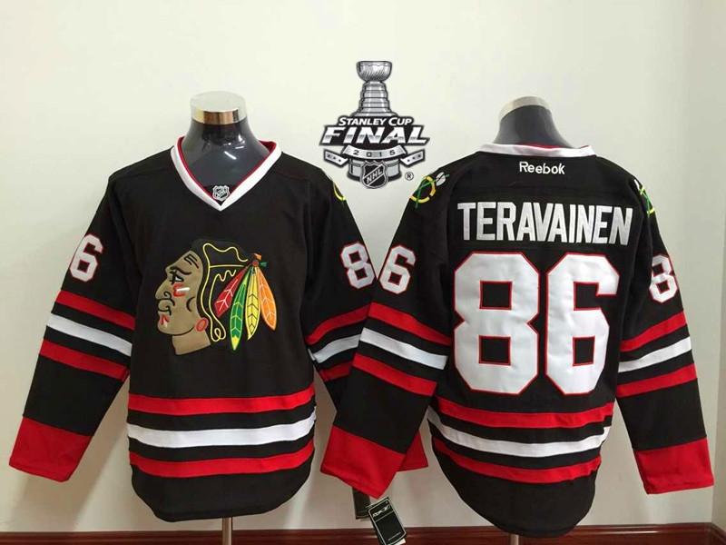 Blackhawks 86 Teravainen Black 2015 Stanley Cup Jersey
