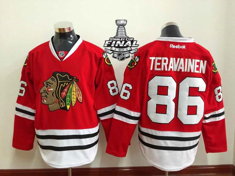 Blackhawks 86 Teravainen Red 2015 Stanley Cup Jersey