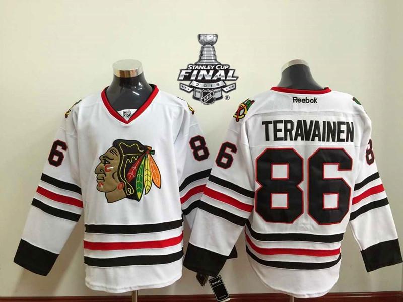 Blackhawks 86 Teravainen White 2015 Stanley Cup Jersey