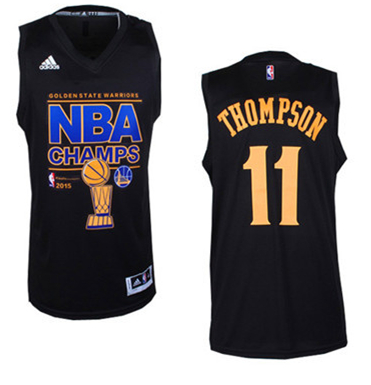 Warriors 11 Thompson Black 2015 NBA Champions Jersey