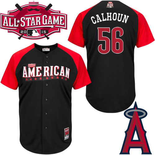 American League Angels 56 Calhoun Black 2015 All Star Jersey