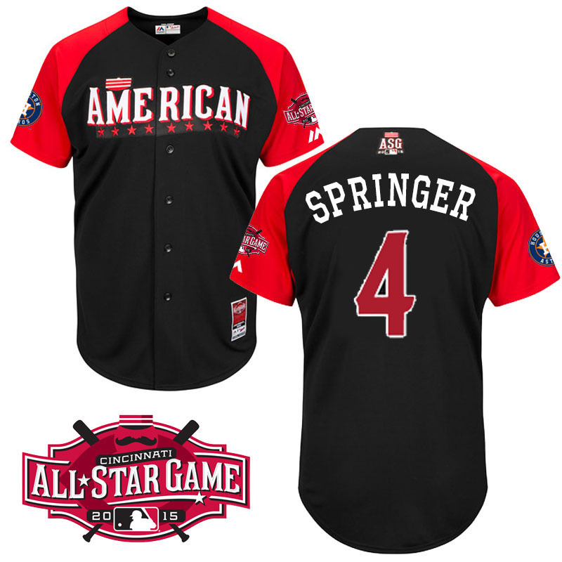 American League Astros 4 Springer Black 2015 All Star Jersey