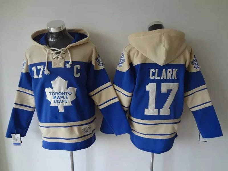 Maple Leafs 17 Wendel Clark Blue All Stitched Hooded Sweatshirt