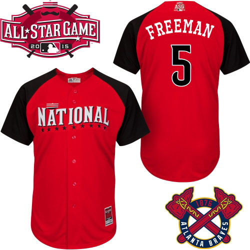 National League Braves 5 Freeman Red 2015 All Star Jersey