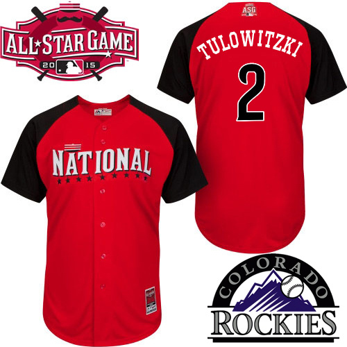 National League Rockies 2 Tulowitzki Red 2015 All Star Jersey