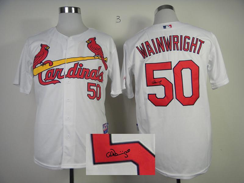 Cardinals 50 Wainwright White Signature Edition Jerseys
