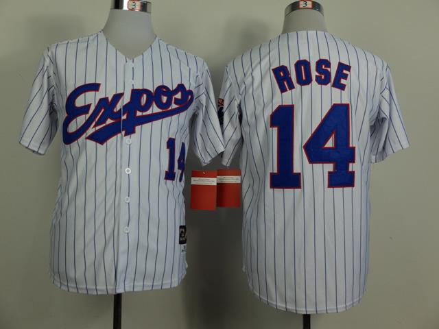 Expos 14 Rose White 1982 Throwback Jerseys