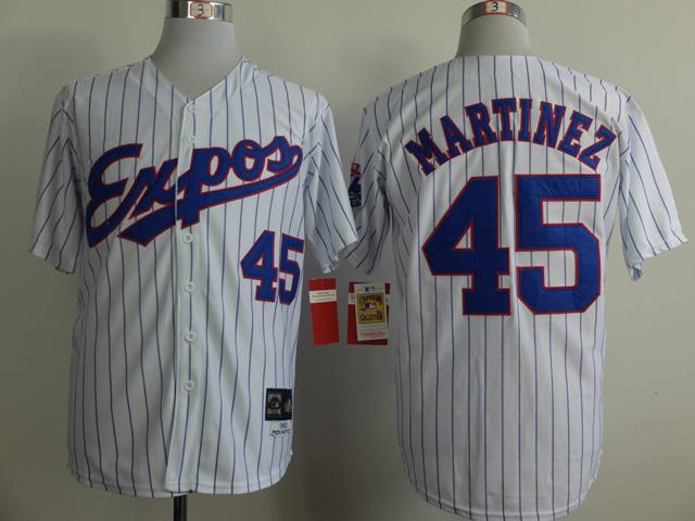Expos 45 Martinez White 1982 Throwback Jerseys