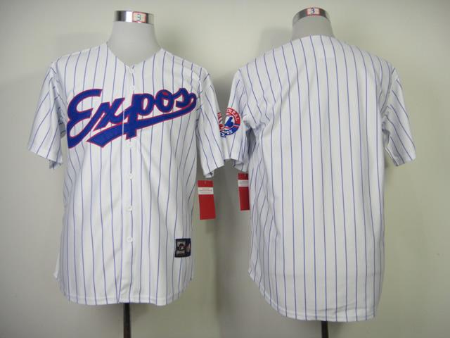 Expos Blank White Blue Stripe Jerseys