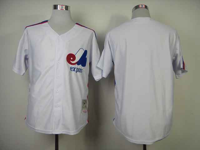 Expos Blank White Throwback Jerseys