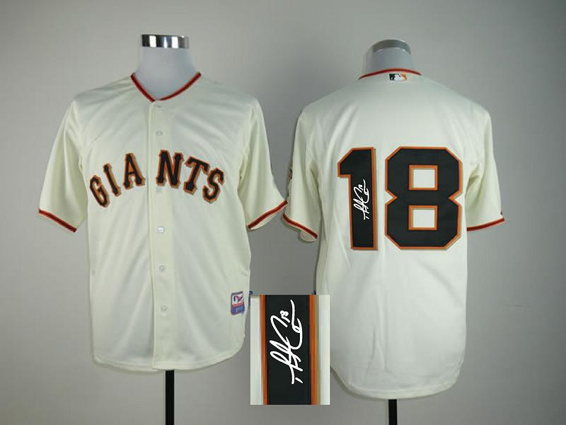 Giants 18 Cain Cream Signature Edition Jerseys