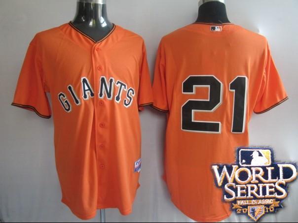 Giants 21 Sanchez orange world series jerseys