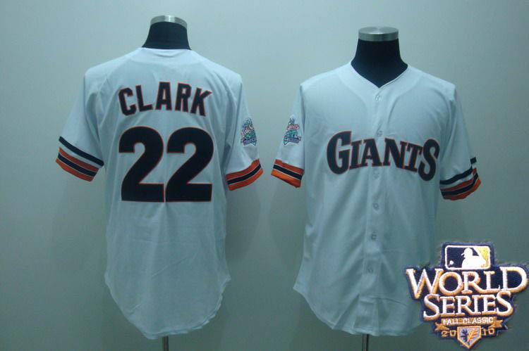 Giants 22 clark white world series jerseys