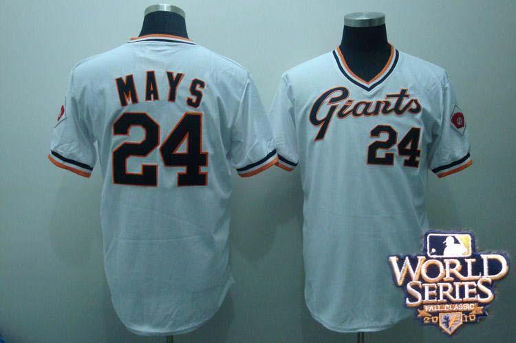 Giants 24 MAYS white world series jerseys