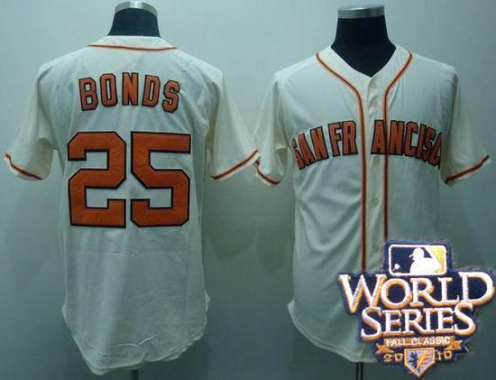 Giants 25 Barry Bonds cream throwback world series jerseys