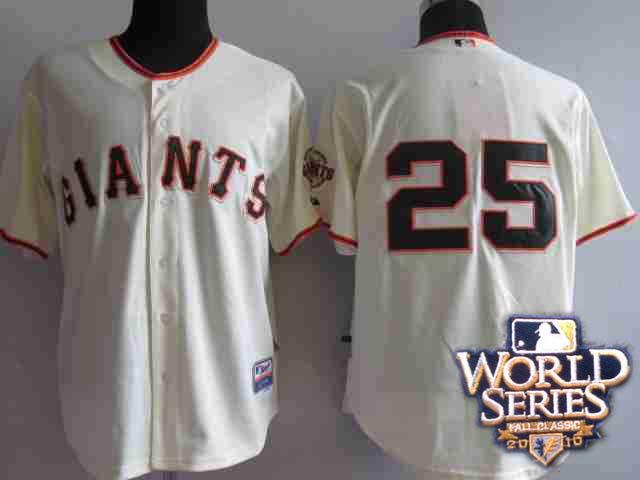 Giants 25 Barry Bonds cream world series jerseys