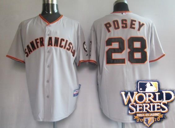 Giants 28 Posey gray world series jerseys