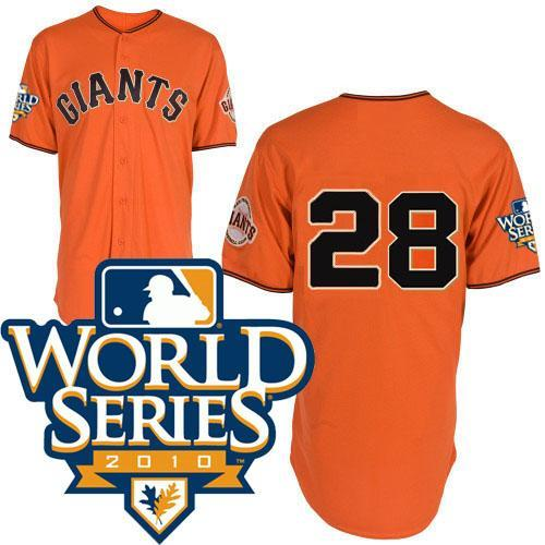 Giants 28 Posey orange world series jerseys
