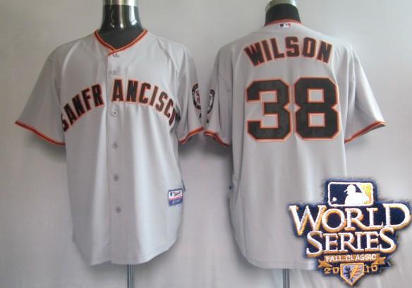 Giants 38 Wilson black world series jerseys