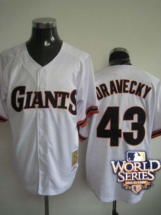 Giants 43 Dravecky white world series jerseys