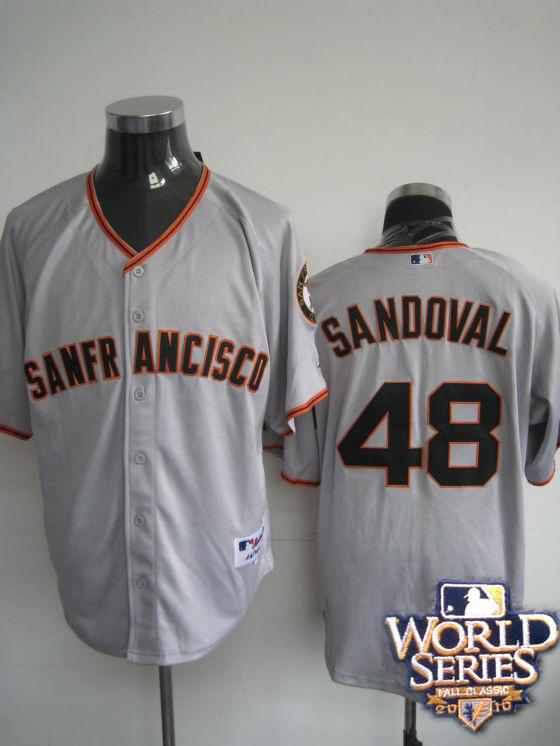 Giants 48 Sandoval gray world series jerseys