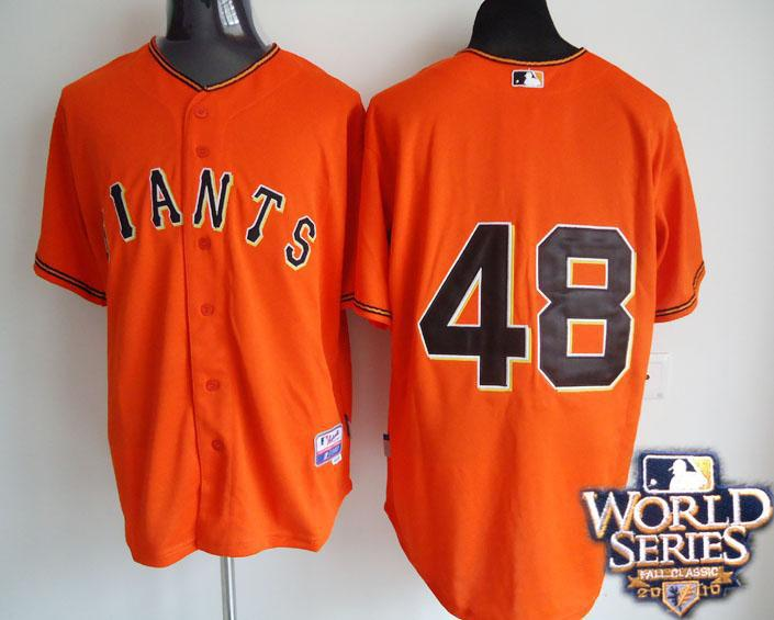 Giants 48 Sandoval orange world series jerseys