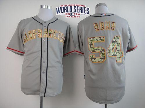 Giants 54 Romo Grey 2014 World Series Cool Base USMC Jerseys