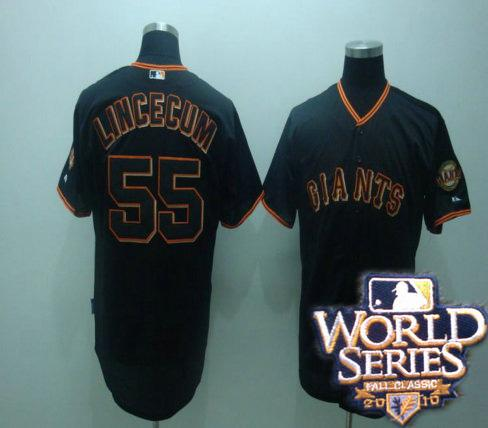 Giants 55 tim lincenum black world series jerseys