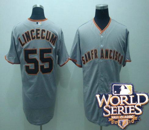 Giants 55 tim lincenum gray world series jerseys