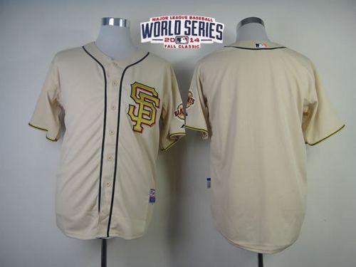 Giants Blank Cream Gold Number 2014 World Series Cool Base Jerseys