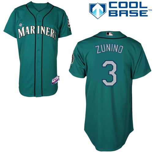 Mariners 3 Zunino Green Cool Base Jerseys