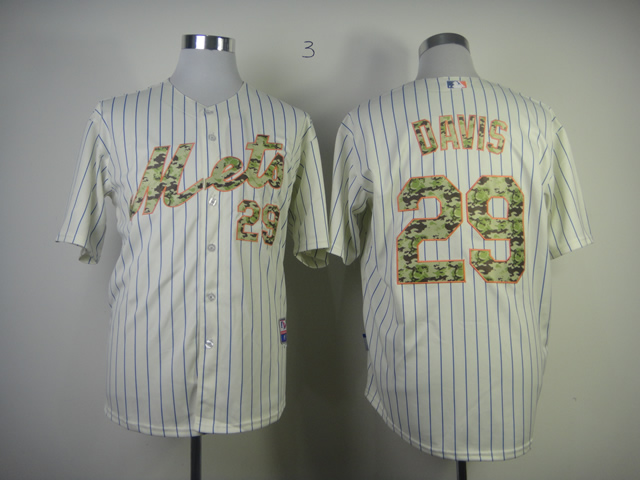 Mets 29 Davis Cream(Blue Stripe)camo number Jerseys